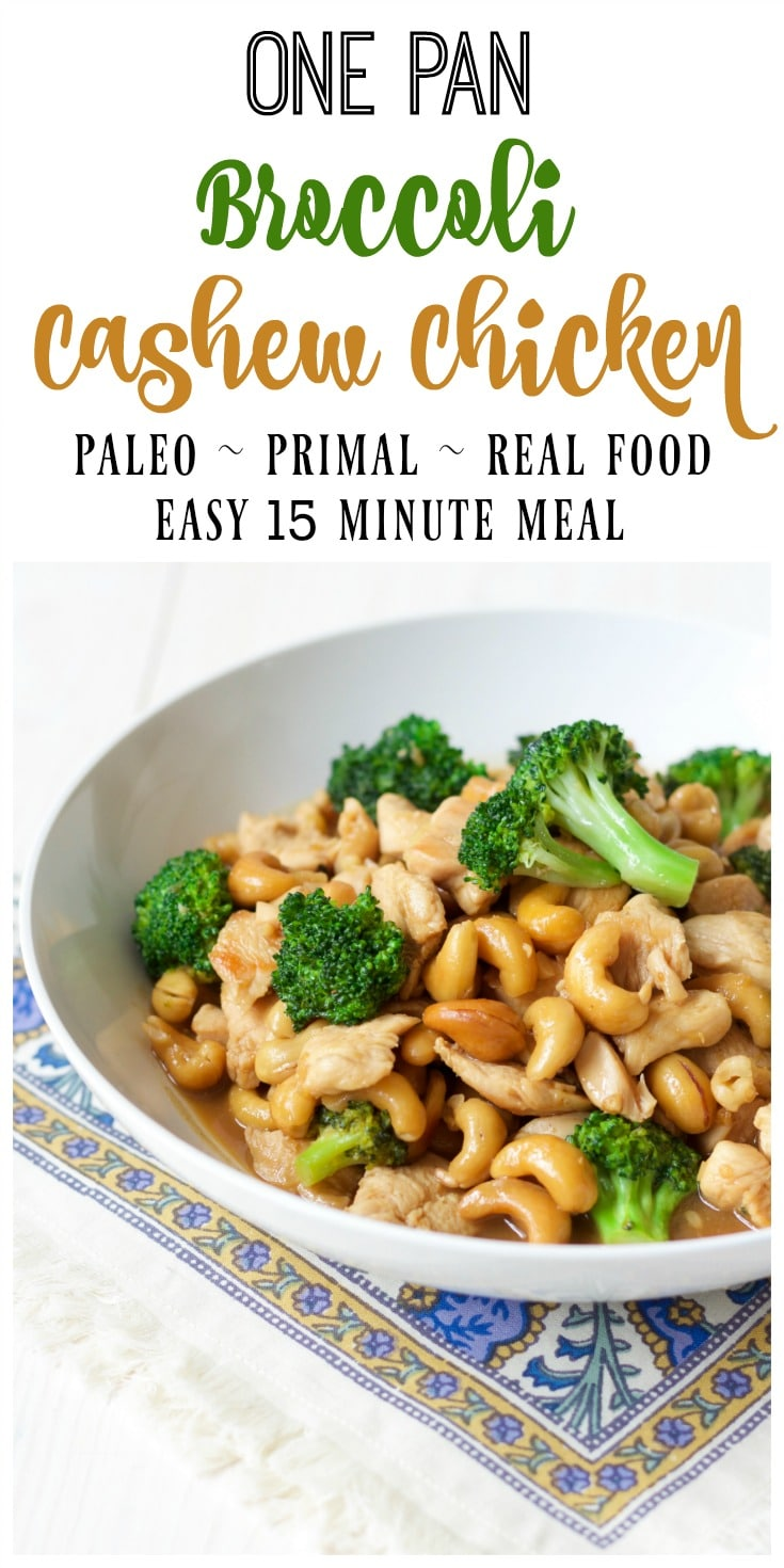 One Pan Broccoli Cashew Chicken whips up in 15 minutes and is so easy to make. This delicious, 10 ingredient, full of flavor meal is easy on the budget too! | Recipes to Nourish // Paleo | Primal | Take Out At Home | Gluten Free | Real Food