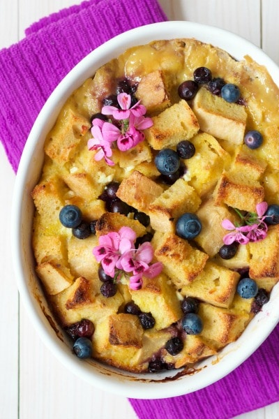 (Ad) This Healthy Lemon Blueberry Breakfast Strata is a protein-packed, delicious, sweet way to start the day. It's full of juicy blueberries, a hint of citrusy lemon and has a special creamy ingredient. | Recipes to Nourish