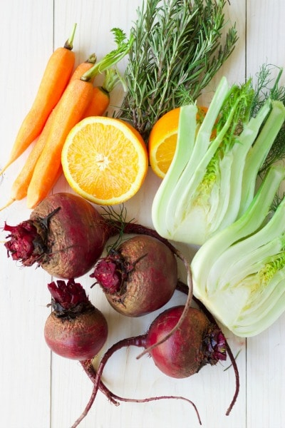 Fresh beets, carrots, fennel, herbs and oranges.