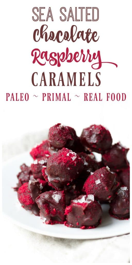 Sea Salted Chocolate Raspberry Caramels are the perfect, healthy, sweet treat! These Paleo caramels are super easy to make with just a few ingredients - Medjool dates, sweet freeze-dried raspberries and homemade chocolate. They're sure to please your sweet tooth! | Recipes to Nourish