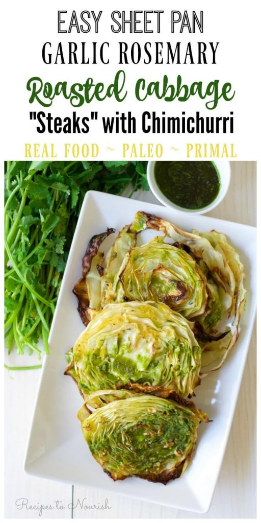 Roasted cabbage steaks with green sauce.