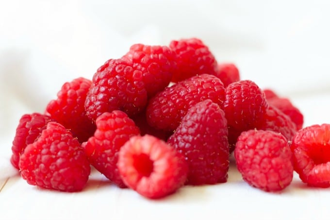 Fresh raspberries.