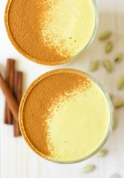 (Ad) Heavenly, indulgent goodness, this High Protein Golden Milk Smoothie makes the perfect snack or breakfast on the go. This 9 ingredient smoothie is full of flavor and perfectly spiced with turmeric, ginger and cinnamon. It's easy to make, packed with protein, naturallysweetened with honey and dates plus has a no sugar option.   Recipes to Nourish