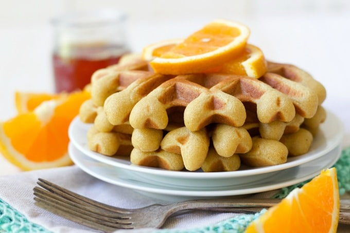 (ad) These healthy Paleo Orange Vanilla Waffles are packed with wholesome, real food ingredients and lots of protein. With hints of sweet orange and vanilla, these delicious waffles are easy to make in the blender and are freezer friendly. | Recipes to Nourish