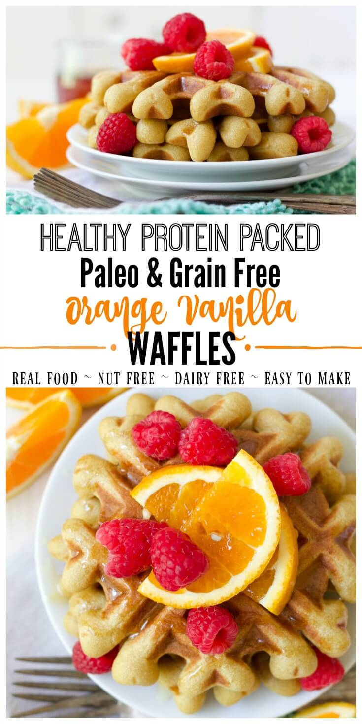 (ad) These healthy Paleo Orange Vanilla Waffles are packed with wholesome, real food ingredients and lots of protein. With hints of sweet orange and vanilla, these delicious waffles are easy to make in the blender and are freezer friendly. | Recipes to Nourish // Paleo Waffles | Gluten Free Waffles | Grain Free Waffles | Healthy Waffles | Gluten Free Recipes | Paleo Recipes | Grain Free Recipes | Healthy Breakfast Recipes