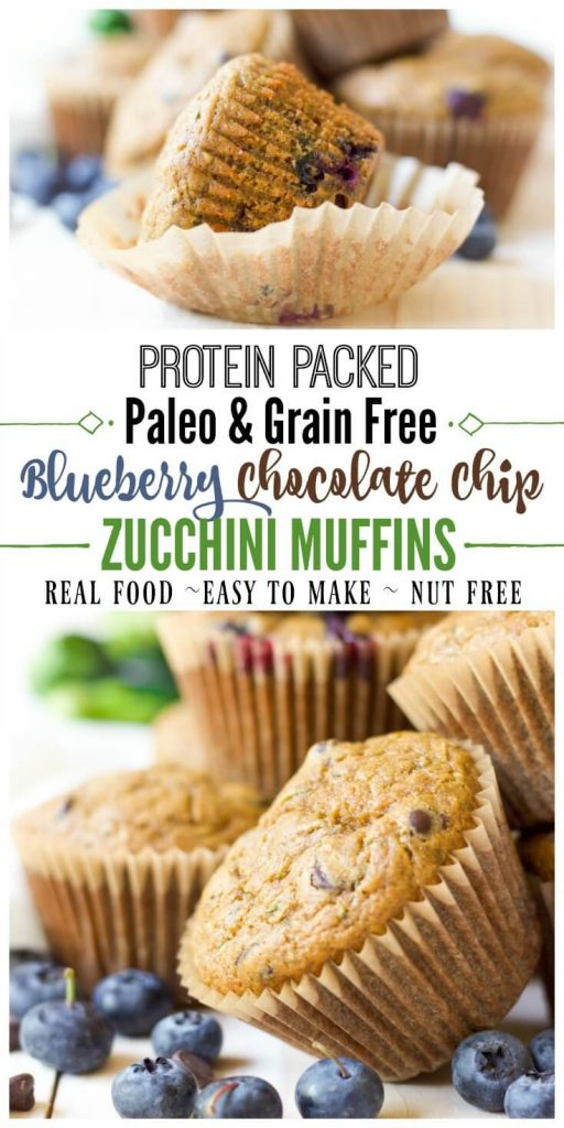 These delicious, grain free, Paleo Blueberry Chocolate Chip Zucchini Muffins are protein packed and great for snacking or on the go breakfast. They're brimming with juicy blueberries, gooey chocolate and jam-packed with zucchini.| Recipes to Nourish