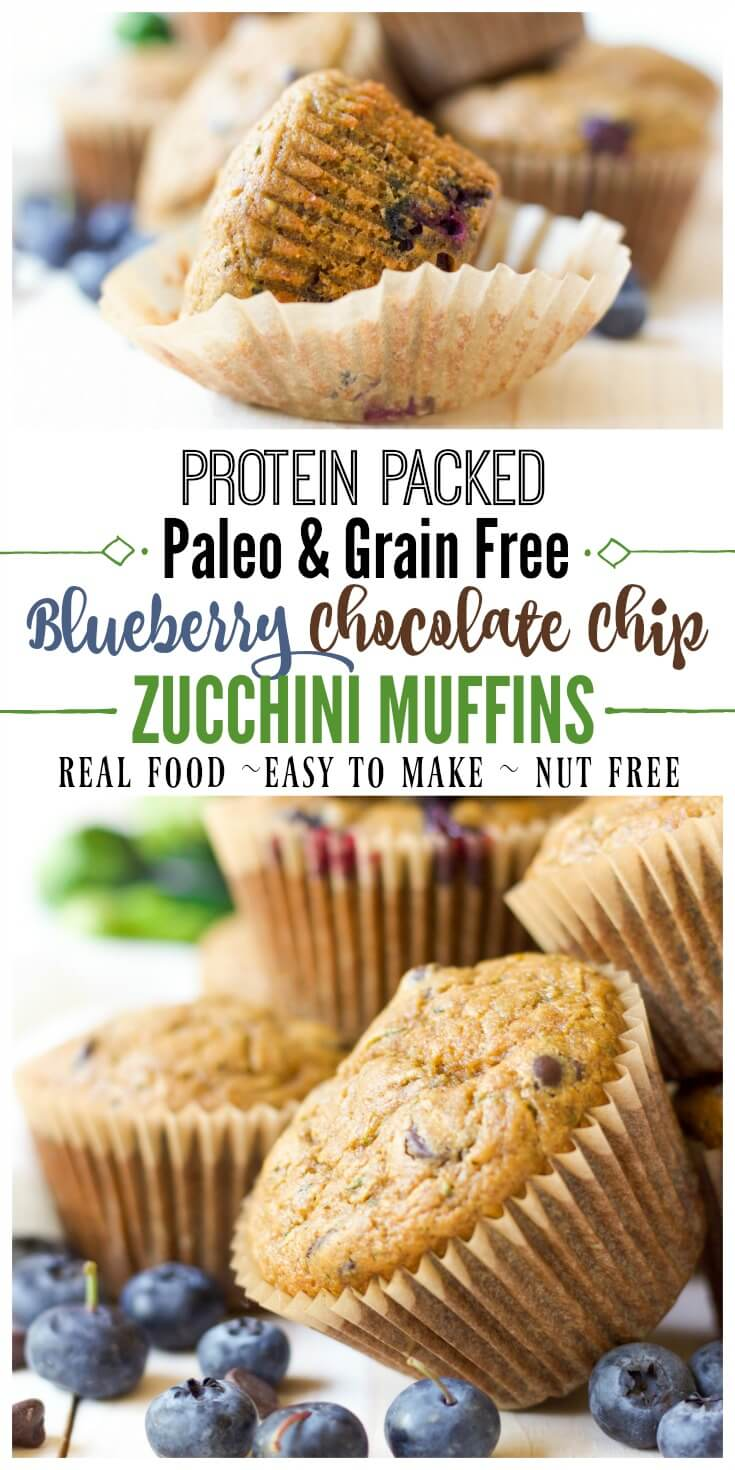 These delicious, grain free, Paleo Blueberry Chocolate Chip Zucchini Muffins are protein packed and great for snacking or on the go breakfast. They're brimming with juicy blueberries, gooey chocolate and jam-packed with zucchini.| Recipes to Nourish // Healthy Recipes | Healthy Muffins | Paleo Recipes | Paleo Muffins | Gluten Free Recipes | Gluten Free Muffins