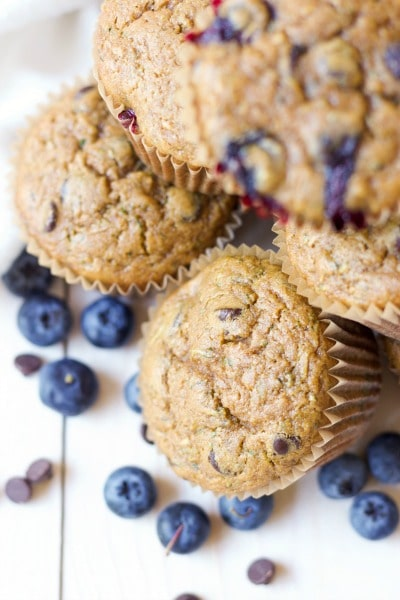 Muffins with fresh blueberries and chocolate chips.