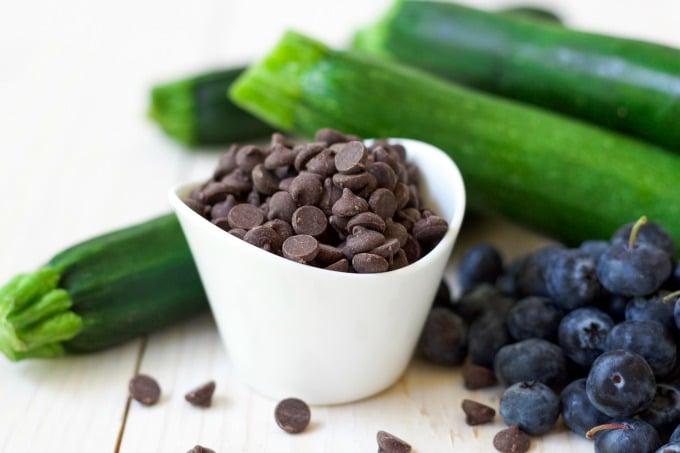 Chocolate chips, fresh blueberries and zucchini.