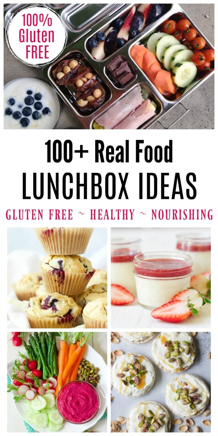 Eating on-the-go doesn't have to be complicated! Just stick to nourishing, unprocessed, real food! Need some inspiration? Here's over 100 Real Food Lunchbox Ideas to get you started! | Recipes to Nourish // Back to School | Back to School Lunches | Healthy Lunches | Gluten Free Recipes | Gluten Free Lunches | Healthy Lunchbox Ideas