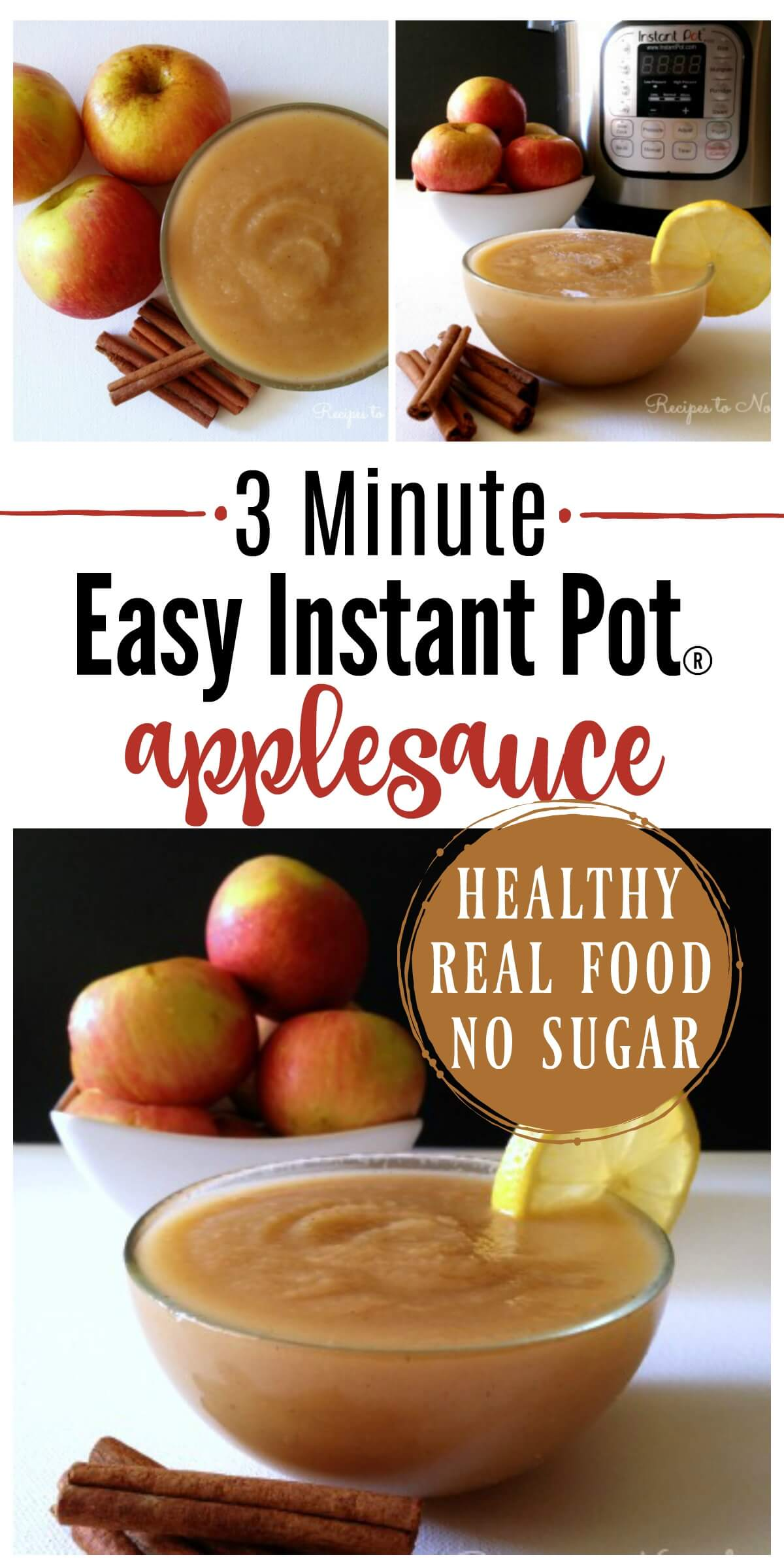 3 Minute Instant Pot Applesauce! If you love applesauce, you've got to try this method. It's absolutely delicious and comes out perfect every time. | Recipes to Nourish // Instant Pot Recipes | Sugar Free Applesauce | Healthy Applesauce | Gluten Free Recipes | Grain Free Recipes | Healthy Snack Recipes