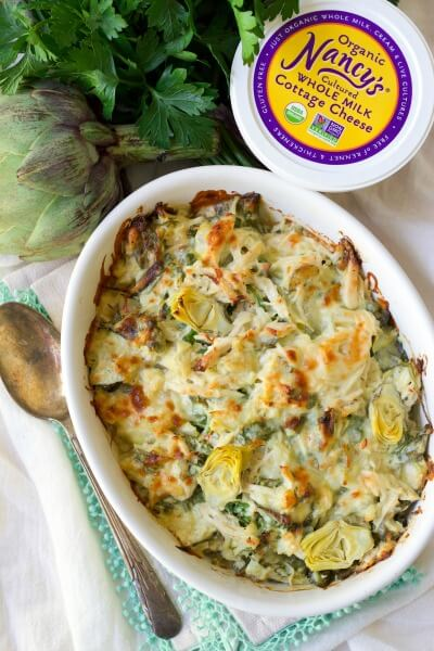 Healthy Spinach Artichoke Chicken Casserole with Nancy's organic whole milk cottage cheese, artichoke and parsley.