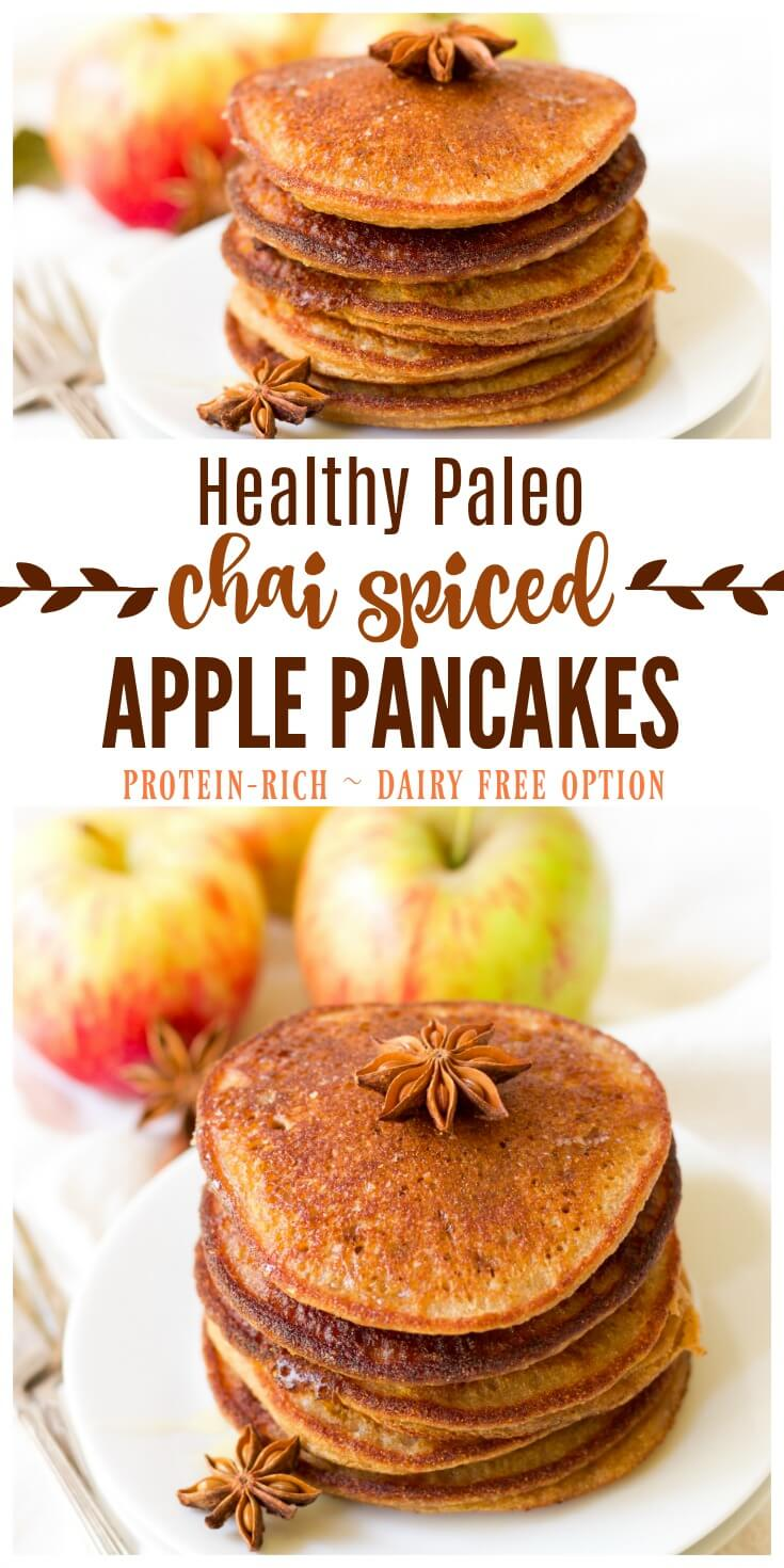 (ad) These healthy Paleo Chai Spiced Apple Pancakes are the perfect protein packed, fall-inspired breakfast. Full of flavor and wholesome ingredients, these pancakes are easy to make and can be made ahead of time and frozen for quick breakfasts. | Recipes to Nourish // Gluten Free | Grain Free | Allergy Friendly | Primal | Dairy Free | Real Food