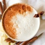 (ad) This healthy Chai White Hot Chocolate is the real deal. You won't find any white chocolate chips in this rich, spiced warming drink, only real food ingredients. It's naturally sweetened, Paleo-friendly and an extra special drink to sip on during the colder months. | Recipes to Nourish