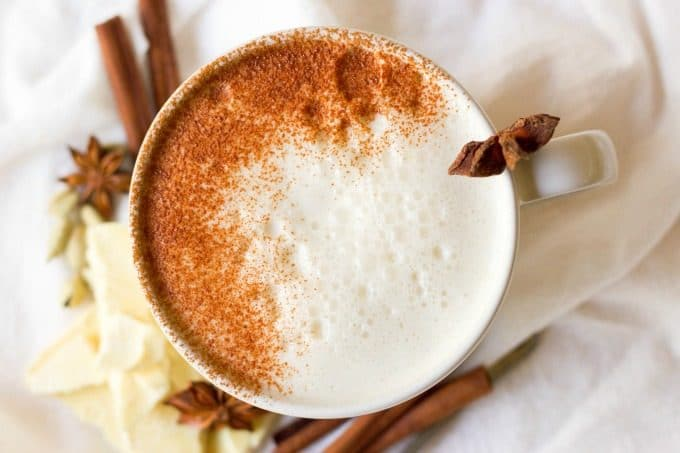(ad) This healthy Chai White Hot Chocolate is the real deal. You won't find any white chocolate chips in this rich, spiced warming drink, only real foodingredients. It's naturally sweetened, Paleo-friendly and an extra special drink to sip on during the colder months.   Recipes to Nourish