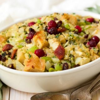 (ad) This stellar sweet and savory Gluten Free Fruity Riced Cauliflower Stuffing is deeply flavored and chock-full of vegetables and fruits! For an extra special, nourishing twist, it's loaded with toasted riced cauliflower and filled with caramelized onions, herby aromatics and lots of delicious fruit. | Recipes to Nourish