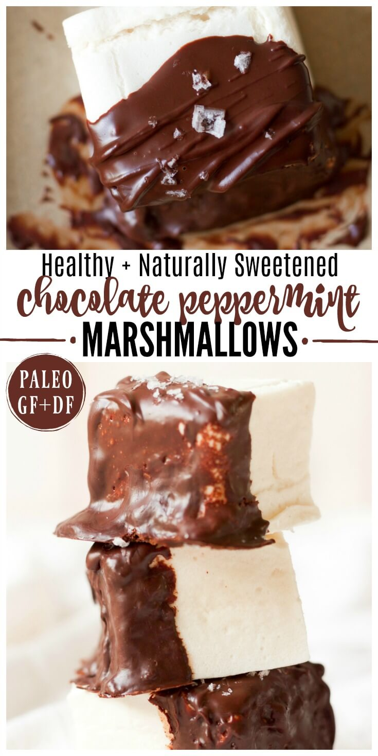 Healthy Chocolate Peppermint Marshmallows are so festive and special for the holidays! These real food, naturally sweetened marshmallows are easy to make, a fun treat to snack on, delicious in hot chocolate, and perfect as a homemade holiday gift! | Recipes to Nourish // Dessert | Gluten Free | Paleo | Christmas #allergyfriendly #paleo #dessert