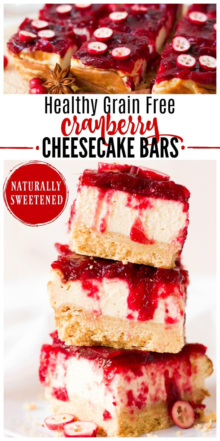 (ad) These HealthyGrain Free Cranberry Cheesecake Bars are so festive and perfect for the holidays! They're made with a homemadeshortbread crust, protein-rich cheesecake center and topped with a naturally sweetened cranberry sauce.| Recipes to Nourish // Gluten Free | Thanksgiving | Christmas | Dessert | Nut Free