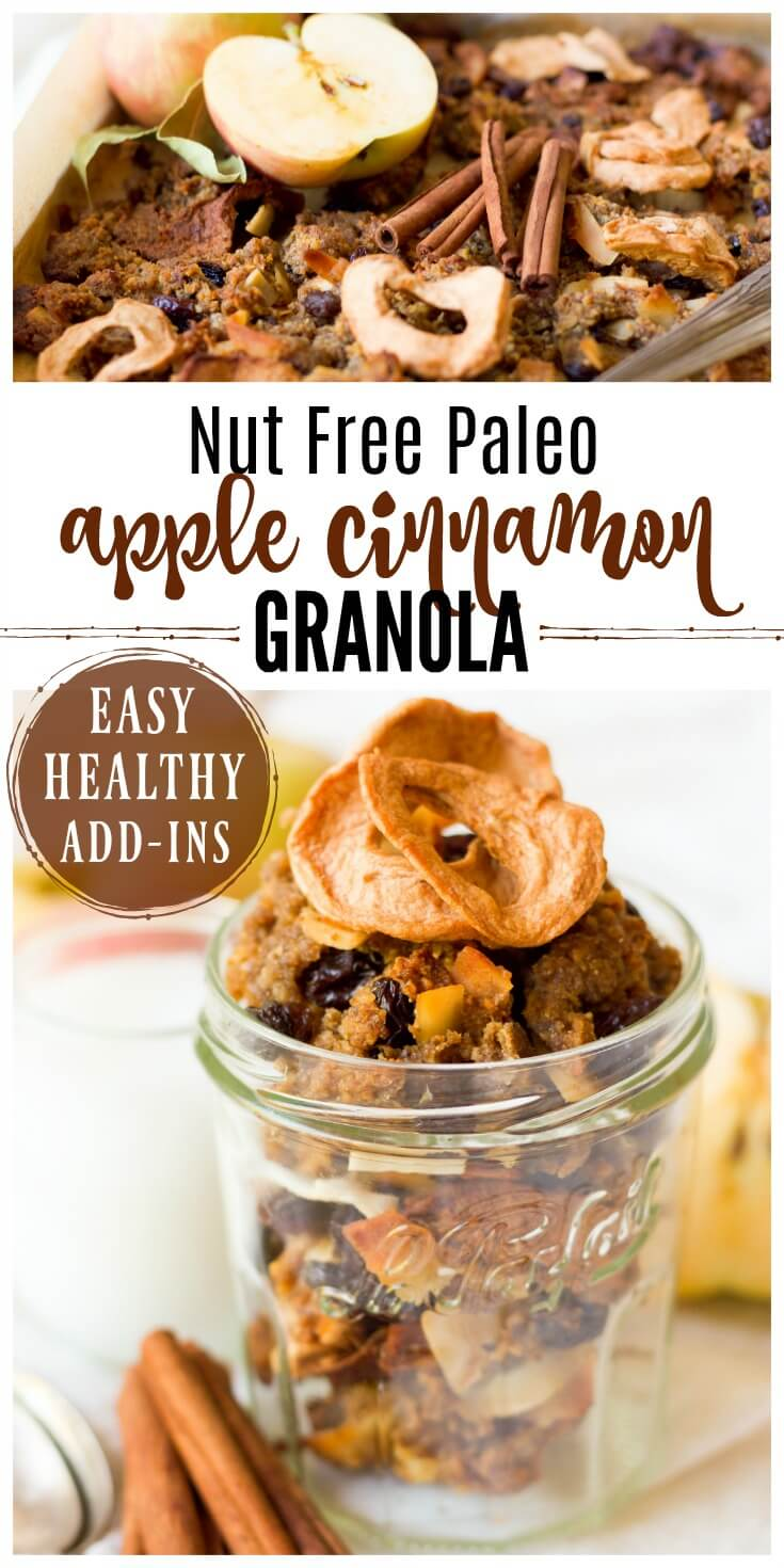 (ad) This healthy Nut Free Paleo Apple Cinnamon Granola is packed with wholesome, real food ingredients, lots of textures and delicious seasonal flavors. It's chock-full of chunky pieces and perfect for snacking, topping on yogurt or smoothie bowls, or enjoying as cereal. | Recipes to Nourish // Primal | Gluten Free | Grain Free | Lunchbox Ideas | Allergy-Friendly