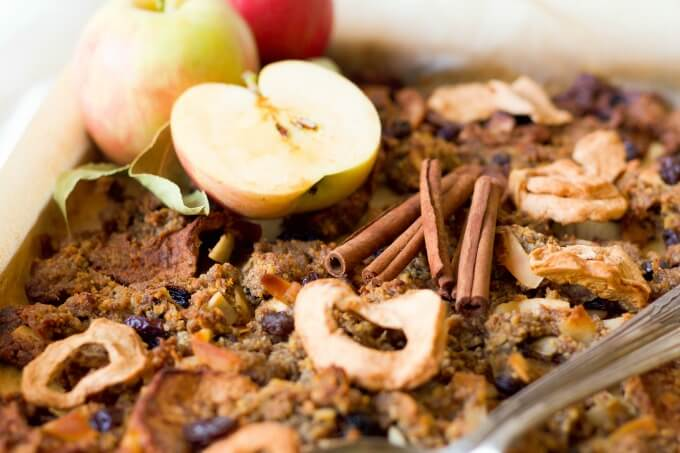 (ad) This healthy Nut Free Paleo Apple Cinnamon Granola is packed with wholesome, real food ingredients, lots of textures and delicious seasonal flavors. It's chock-full of chunky pieces and perfect for snacking, topping on yogurt or smoothie bowls, or enjoying as cereal. | Recipes to Nourish