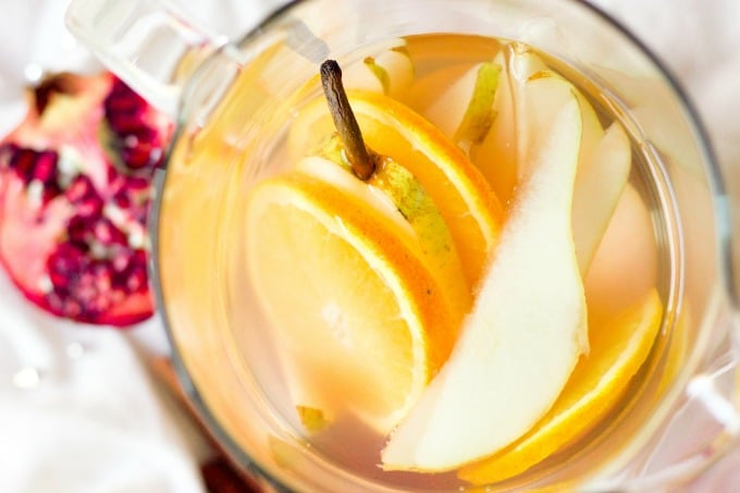 Infused water with oranges, pears and pomegranate.