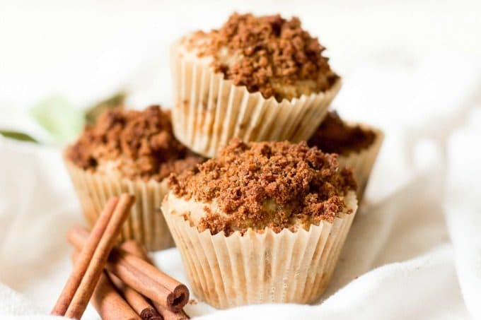 Healthy Cinnamon Streusel Coffee Cake Muffins are fun for weekend breakfasts and make a lovely addition to a holiday brunch. These real food muffins are Paleo friendly and naturally sweetened with a delectable crumbly streusel topping and a sweet maple glaze. | Recipes to Nourish
