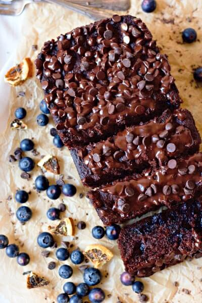 Chocolate banana bread with blueberries and dried oranges.