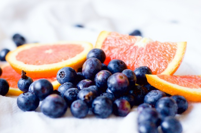 Fresh blueberries and orange slices.