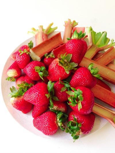 Fresh strawberries and rhubarb.
