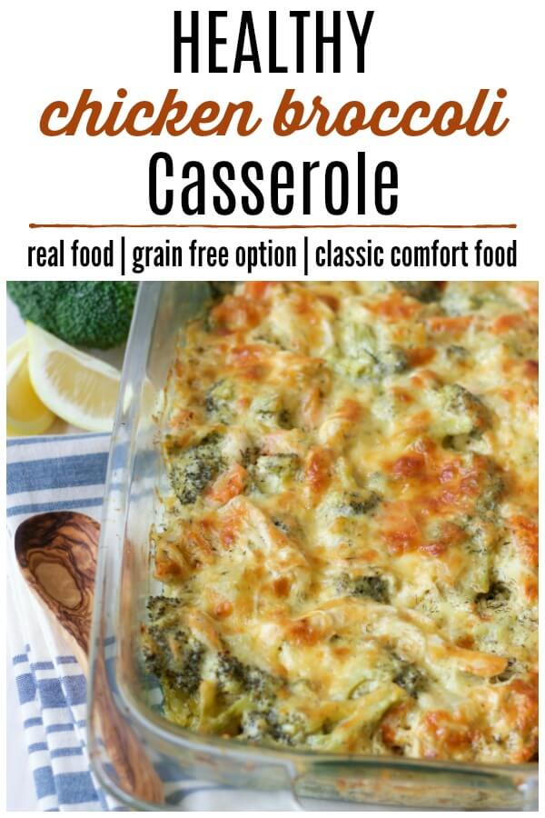 Chicken Broccoli Casserole in a baking pan with fresh lemon slices.