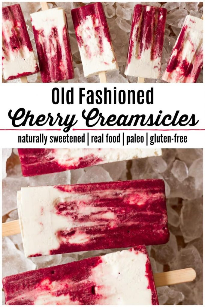 Marbled cherry and vanilla creamsicle popsicles on ice.