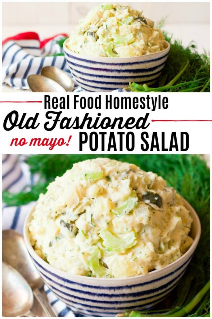 Bowls full of potato salad surrounded by fresh dill.