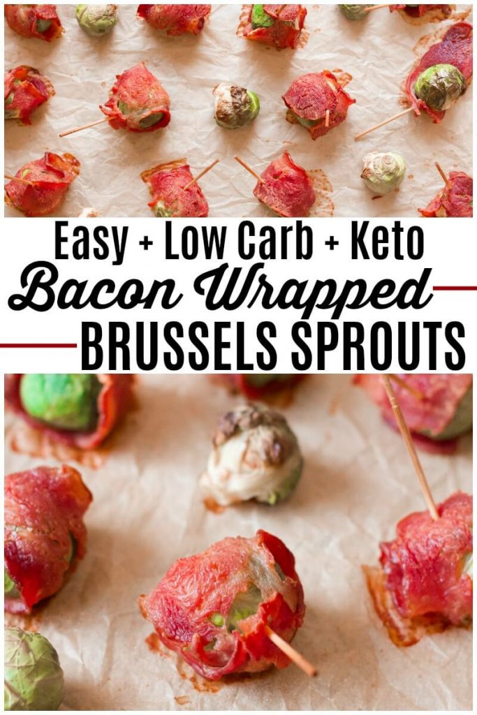 Bacon wrapped Brussels sprouts on a baking sheet.