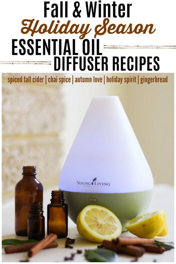 Essential oils diffuser, essential oils, cinnamon sticks, cloves, herbs and fresh lemons.