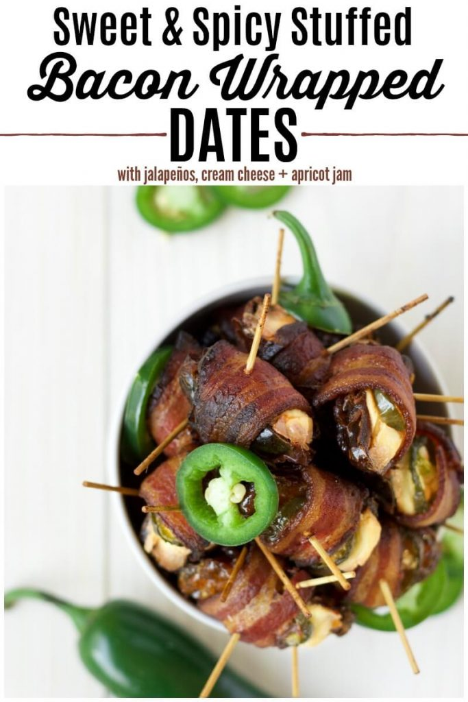 Bowl of bacon wrapped dates with jalapeño slices.