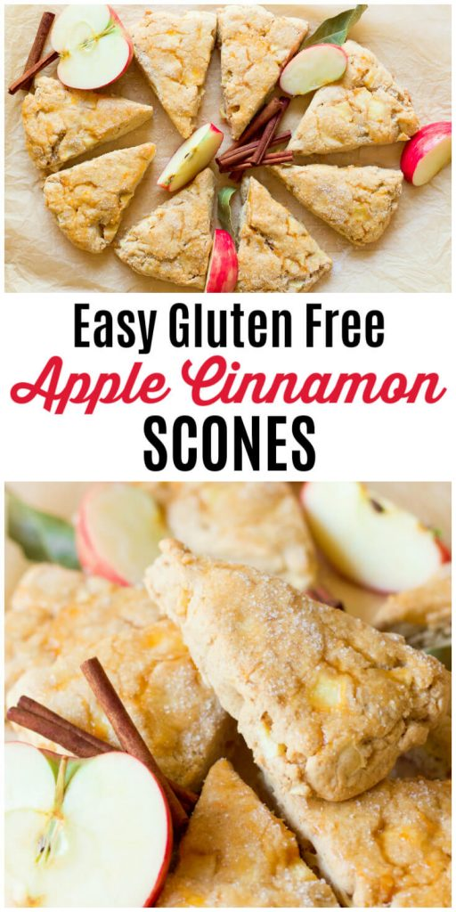 Apple cinnamon scones with fresh apples and cinnamon sticks.