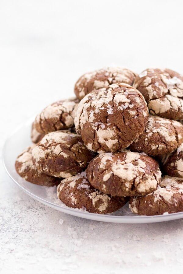 Stack of chocolate crinkle cookies.