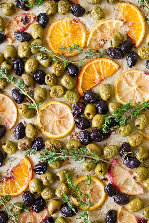 Roasted olives, oranges, lemons and herbs.