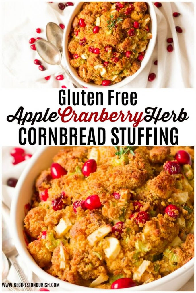 Cornbread stuffing with cranberries in a casserole dish.