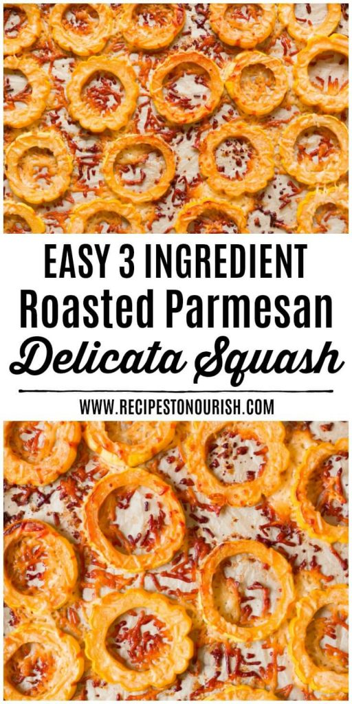 Roasted Delicata squash rounds with crispy parmesan.