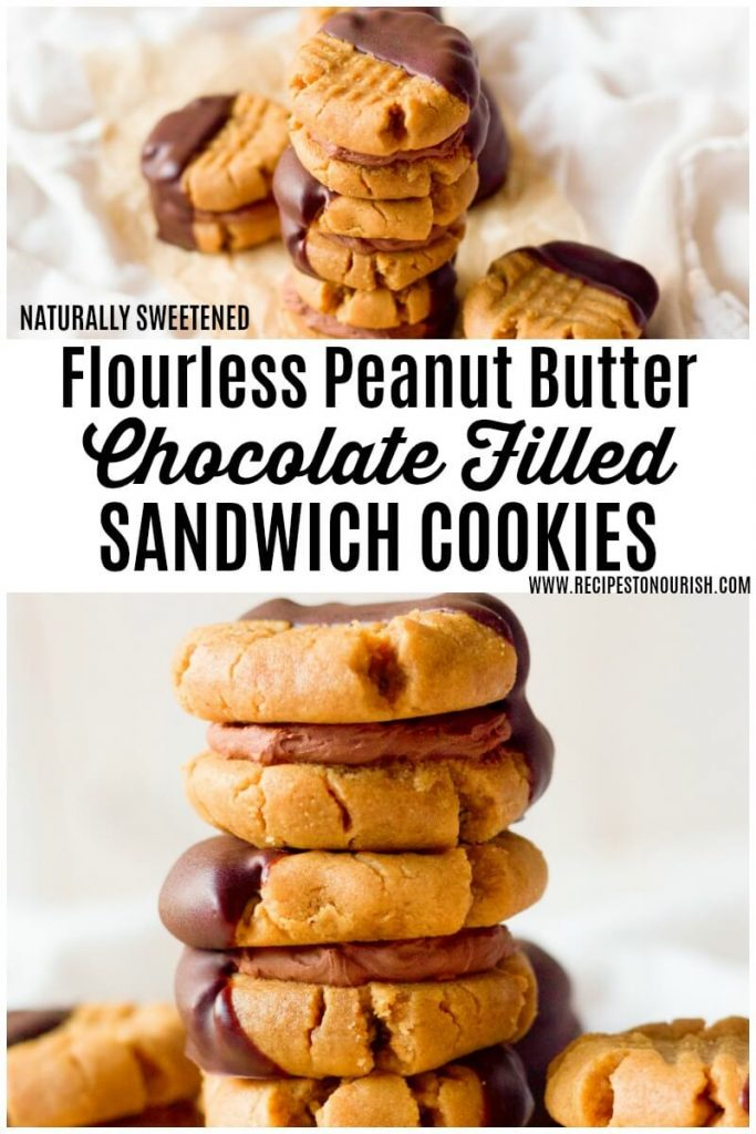 Peanut butter sandwich cookies filled with chocolate cream and half dipped in chocolate.