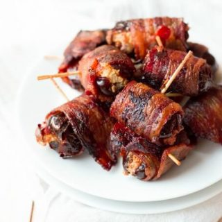 Bacon wrapped stuffed dates.