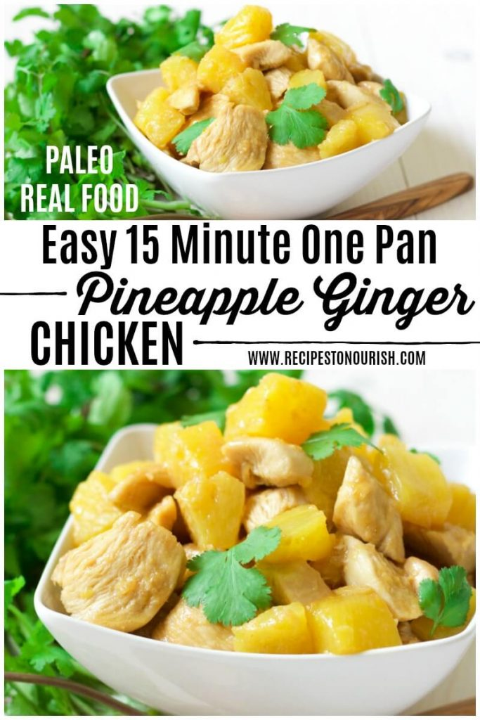 Bowl of pineapple chicken with fresh cilantro.