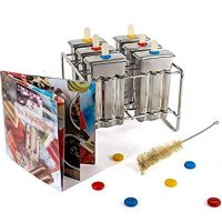 Bapon Organix- Stainless Steel Popsicle Molds and Rack - 6 Ice Pop Makers With 12 Reusable Bamboo Sticks and Silicone Seals - Bonus Cleaning Brush and Recipe Book