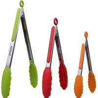 POPCO Food Tongs, Set of 3-7,9,12 Inch, Heavy Duty, Stainless Steel Tongs with Silicone Tips