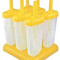 Tovolo Groovy Ice Pop Molds, Drip-Guard Handle, 4 Ounce Popsicles, Set of 6, Yellow