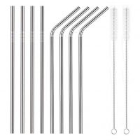 Set of 8 Stainless Steel Straws Ultra Long 10.5 Inch Reusable Straws For 30 oz Cold Beverage (4 Straight|4 Bent|2 Brushes)