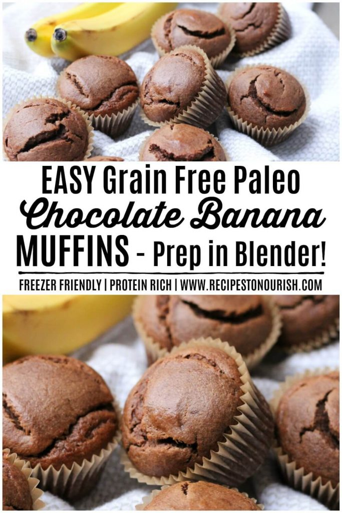 Chocolate muffins next to bananas.