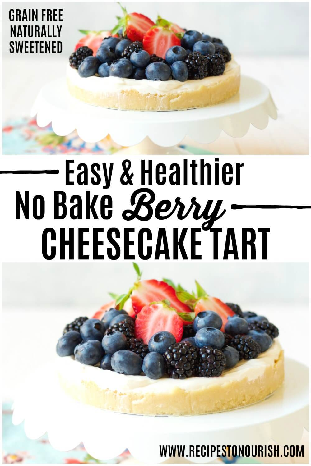 Cheesecake tart topped with fresh blueberries, strawberries and blackberries sitting on a cake stand.