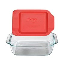"Pyrex SYNCHKG089152 Get Dinner Away Large Handle 8"" x 8"" Square Dish. Making it Easy to Monitor Casserole Cooking and Brownie Baking from a, 4 Red 8"""